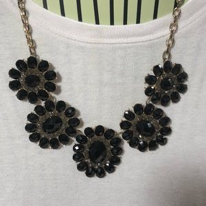 Statement Flower Necklace Black Costume